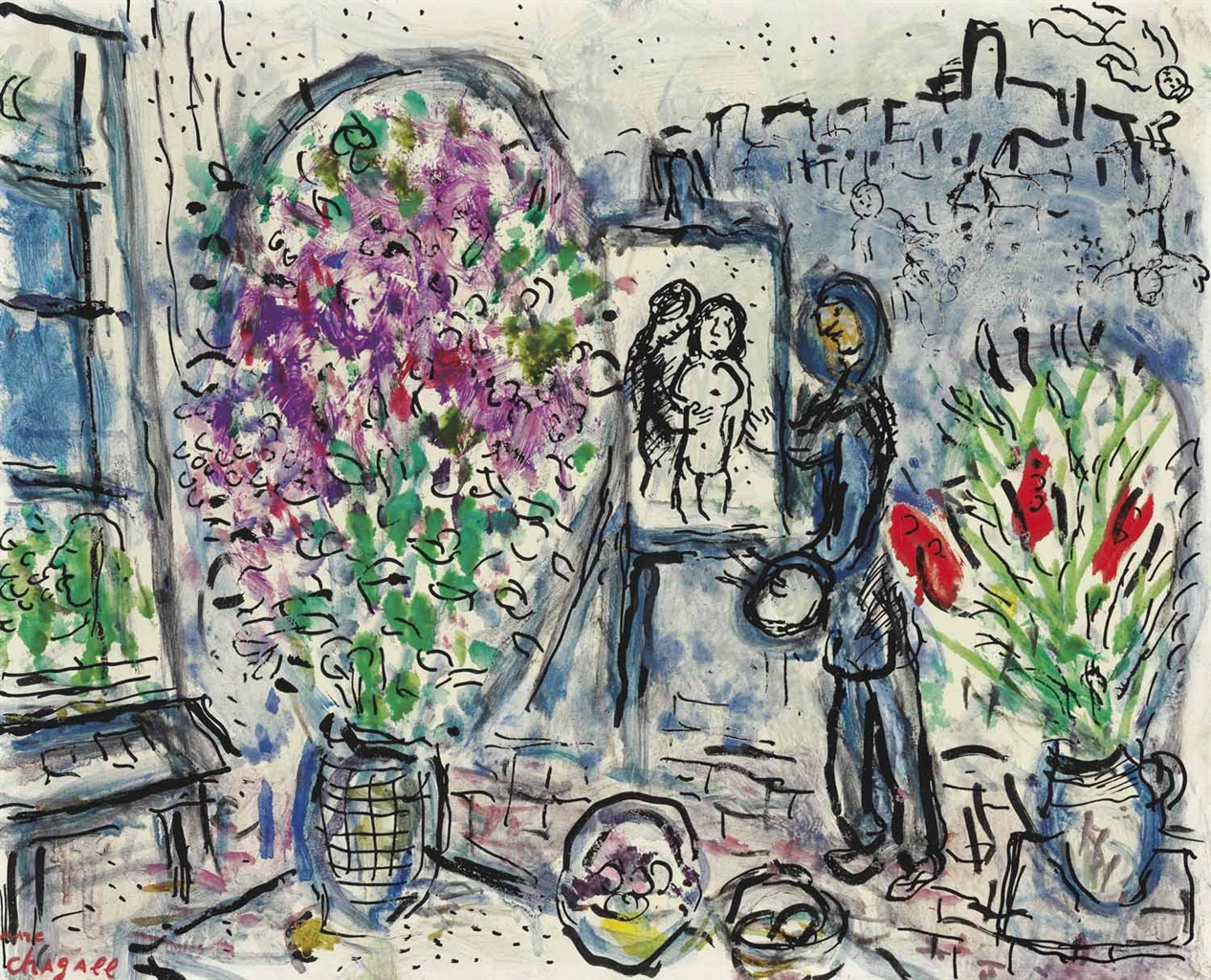 marc chagall 1887 1985 l 39 atelier fleuri saint paul impressionist modern art auction. Black Bedroom Furniture Sets. Home Design Ideas