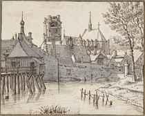 View of Geertruijdenberg with the Brandpoort at the left and the Groote Kerk beyond