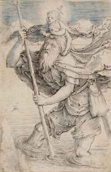 Saint Christopher carrying the Christ Child, after Lucas van Leyden