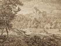 An Italianate mountainous landscape with a river