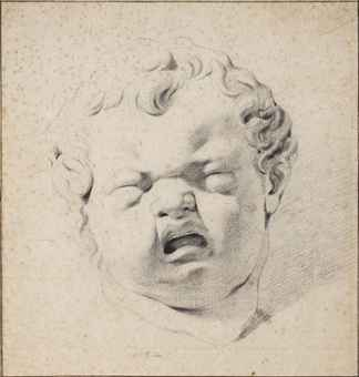 Study of a plaster cast of the head of a crying child