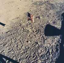 Shadow of Apollo 11 against the surface of the moon, July 20, 1969