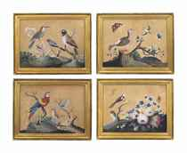 A SET OF FOUR IRISH GEORGE II EMBOSSED PAPER PICTURES OF BIR