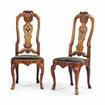 A PAIR OF ANGLO-DUTCH WALNUT AND BEECH SIDE CHAIRS