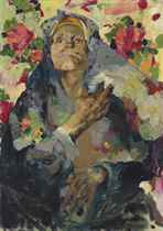Peasant woman with a coloured shawl