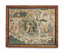 A CHARLES II STUMPWORK AND SILK-EMBROIDERED PICTURE