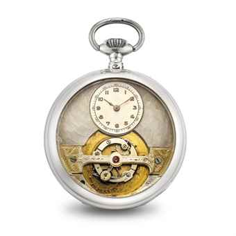 MOBILIS. AN UNUSUAL SILVER OPENFACE KEYLESS LEVER WATCH WITH TOURBILLON
