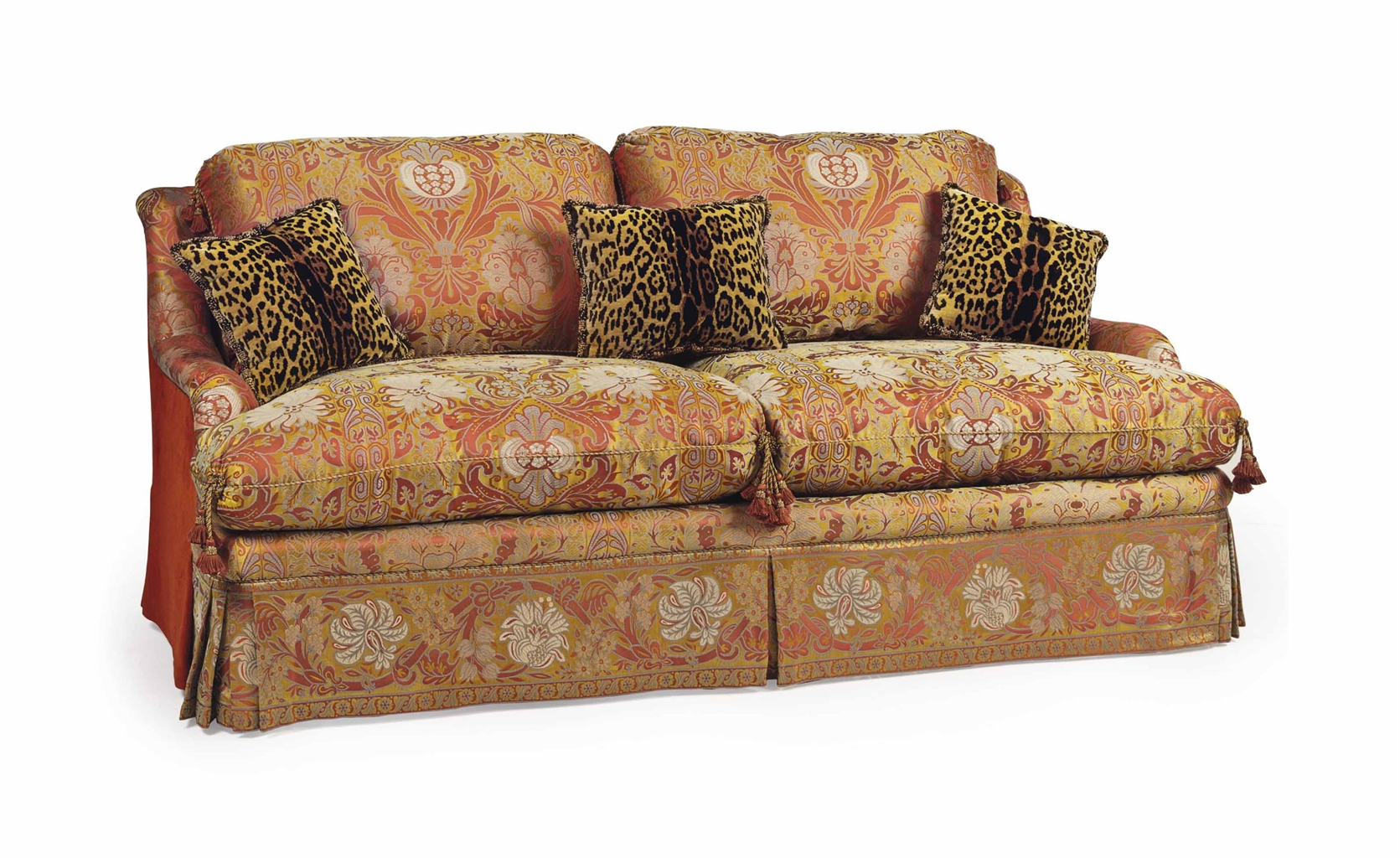 A Rose And Yellow Colored Floral Pattern Two Seat Sofa