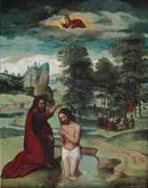 The Baptism of Christ, Saint John the Baptist preaching in a wooded glen beyond