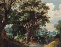 A forest landscape with Christ and the Centurion
