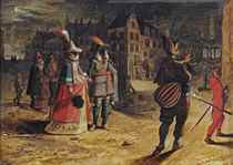A view of Antwerp by night with elegant figures on their way to a masquerade