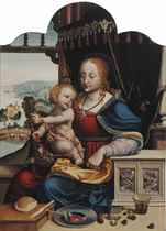 Madonna and Child with a rosary, seated before a landscape with The Flight to Egypt, a ledge with a roll of bread, a tin plate with strawberries, various nuts and a glass in the foreground