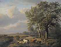 A landscape with a shepherdess and her flock resting near a stream