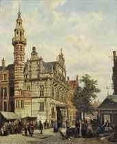 L'Hotel de Ville de la Haye: a market day near the City Hall, The Hague