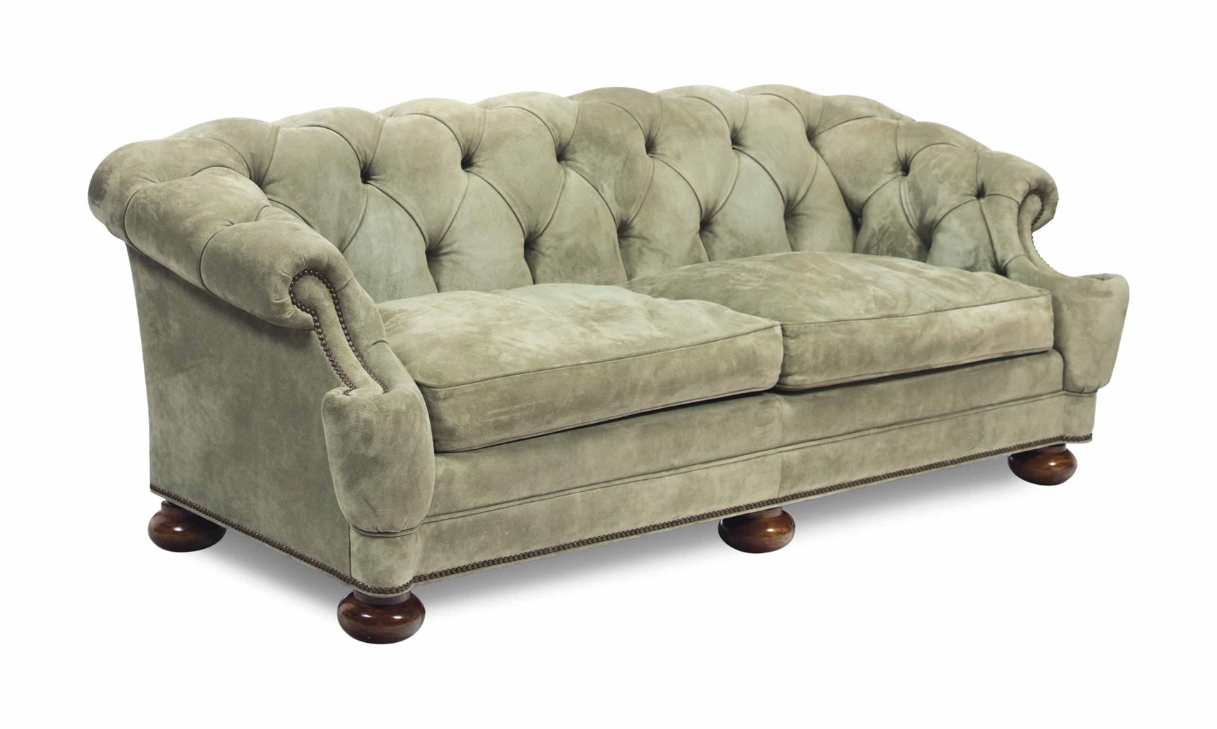 A green suede button tufted sofa late 20th century for Button tufted chaise settee green