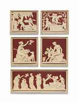 A SET OF FIVE DANISH PAINTED TERRACOTTA RELIEF PANELS