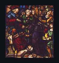 A STAINED-GLASS WINDOW DEPICTING CHRIST BEFORE PONTIUS PILAT