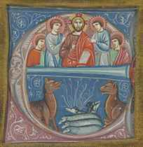 CHRIST BLESSING and SHEEP AMID WOLVES, historiated initial '