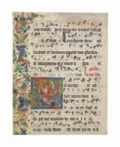 THE RESURRECTION, historiated initial 'R' on a leaf cut from