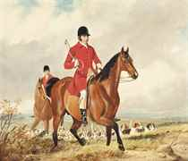 A huntsman and whipper-in of the Bicester Hunt