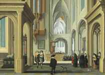 A church interior with elegant company attending a christening