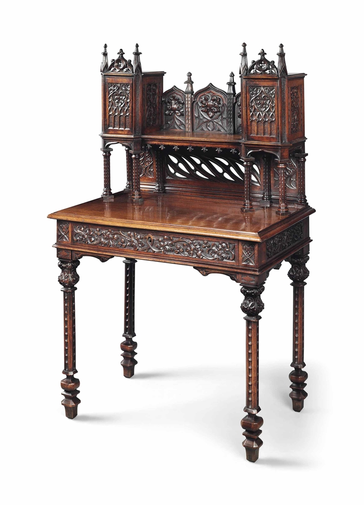 a napoleon iii gothic walnut bonheur du jour circa 1870. Black Bedroom Furniture Sets. Home Design Ideas