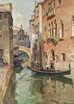 Boarding a gondola on a Venetian backwater