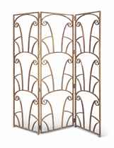AN ART DECO COLD-PAINTED WROUGHT-IRON THREE-FOLD SCREEN