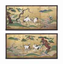 A PAIR OF JAPANESE SIX-FOLD 'CRANE' SCREENS