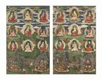 TWO PAINTINGS OF THE SIXTEEN ARHATS