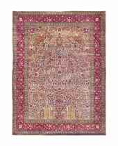 A SILK KASHAN PRAYER CARPET