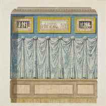 Décoration murale ornée d'un rideau et de scènes mythologiques