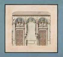 Projet de décor pour un cabinet à la française, orné de deux bustes et de deux portes ouvragées