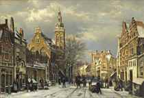 A capriccio view of a sunlit town in winter with numerous figures