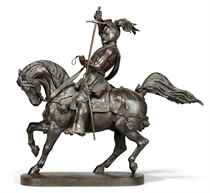A FRENCH PATINATED-BRONZE EQUESTRIAN GROUP REPRESENTING EMMA