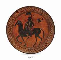 A SET OF TEN ETRUSCAN-STYLE BLACK-FIGURED TERRACOTTA PLATES