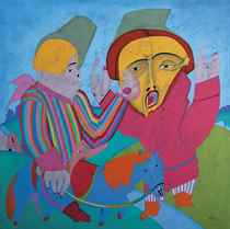 Two Figures with a Blue Horse