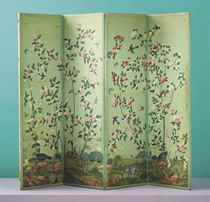 A CHINESE EXPORT PAINTED WALLPAPER FOUR-LEAF SCREEN