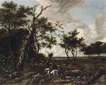 A wooded landscape with huntsmen on a track
