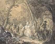 Acte de bienfaisance de la Reine devant un vigneron blessé et sa femme implorante