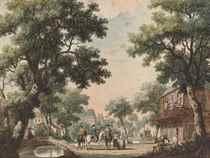 Cavaliers à cheval et promeneurs devant un pont à l'entrée d'un village