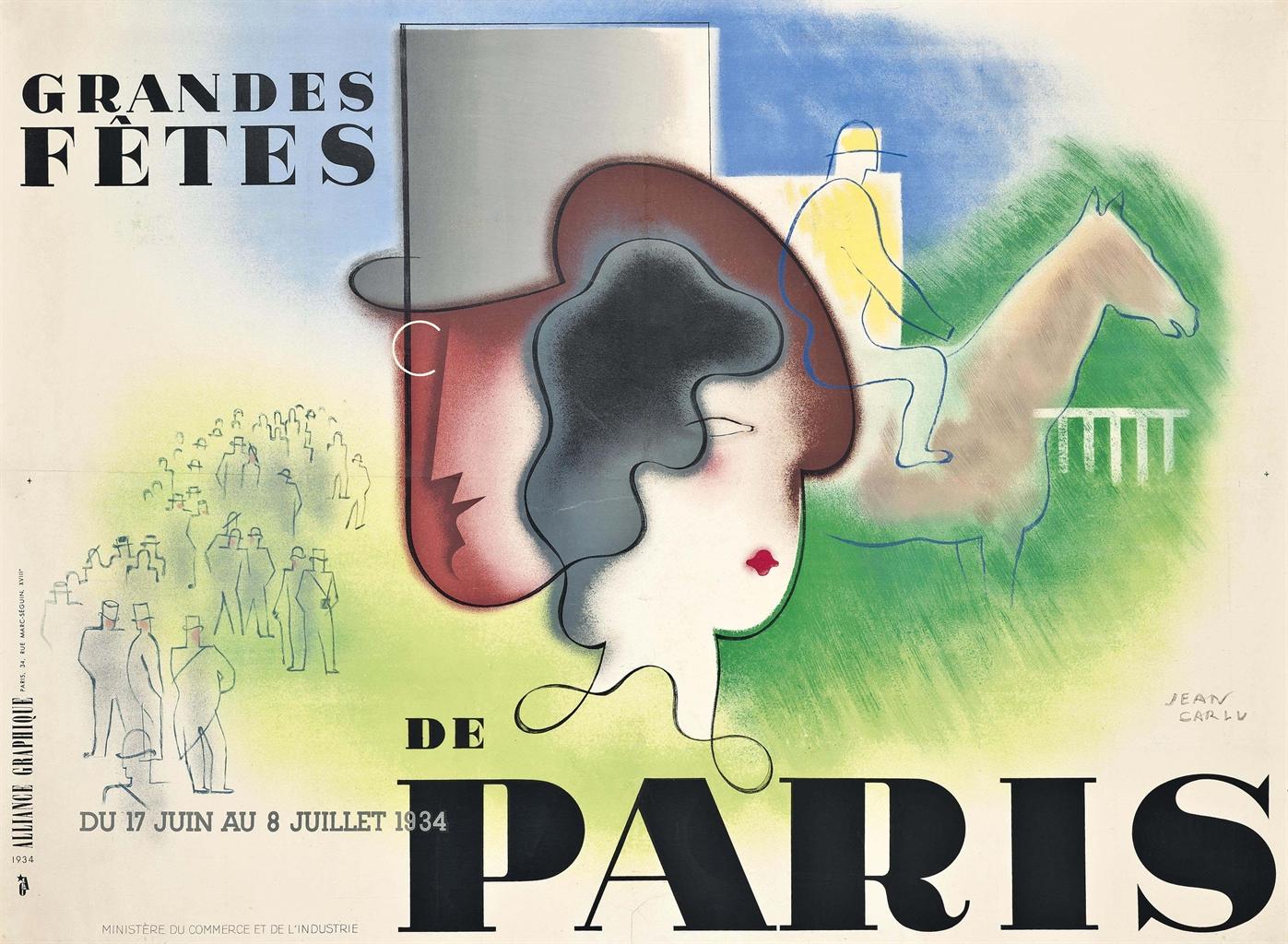 Poster design 1900 - Jean Carlu 1900 1997 Grandes F Tes De Paris 1934 Lithograph In Colours 47 X 62 In 120 X 160 Cm Sold For 4 000