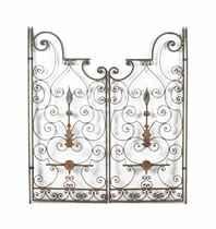 A PAIR OF FRENCH WROUGHT-IRON GARDEN GATES