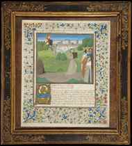 MOSES RECEIVING THE TABLETS OF THE LAW, miniature on a leaf