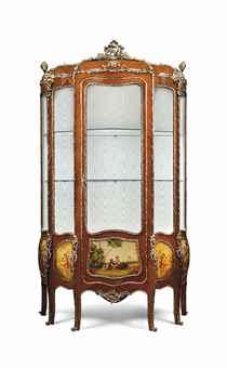 a large french gilt metal mounted bois satine and vernis. Black Bedroom Furniture Sets. Home Design Ideas