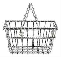 A RUNWAY SILVER & BLACK LAMBSKIN LEATHER SHOPPING BASKET BAG