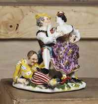 A MEISSEN GROUP OF THE INDISCREET HARLEQUIN