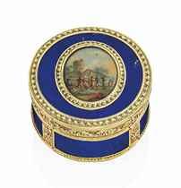 A LOUIS XVI VARI-COLOUR GOLD AND BLUE-GLASS SNUFF-BOX SET WITH A MINIATURE