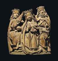 A LIMEWOOD RELIEF OF THE CORONATION OF THE VIRGIN
