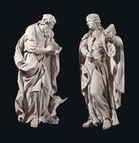 A PAIR OF WHITE-PAINTED WOOD FIGURES OF SS LUKE AND JOHN